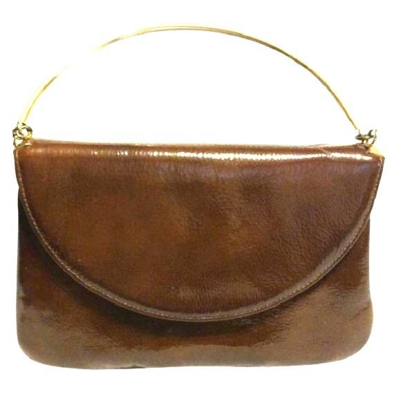 Sak's Fifth Avenue Handbags - Sak's Fifth Avenue Brown Patent Leather Satchel